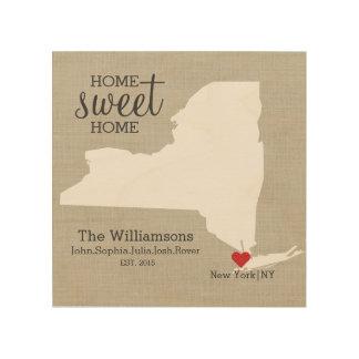 New York State Map Custom Family Name Established Wood Print
