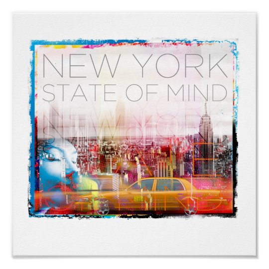 "New York STate of Mind Poster 12"" x 12"""