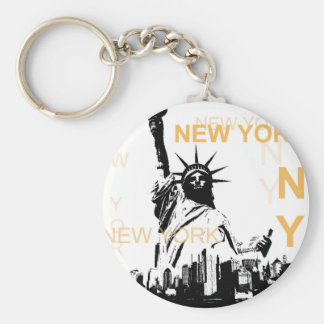 New York Statue of Liberty Basic Round Button Key Ring