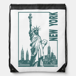 New York-Statue of Liberty Drawstring Bag