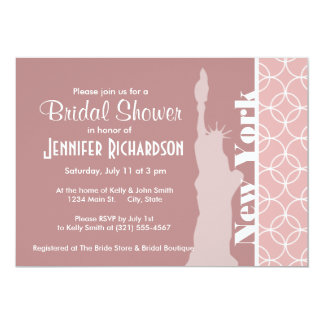 New York, Statue of liberty Mauve Circles Custom Announcement