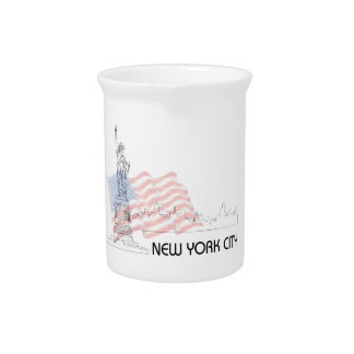 New York - Statue of Liberty USA Flag Drink Pitchers