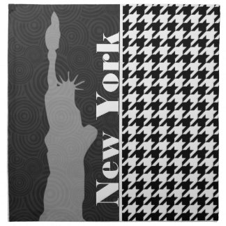 New York, Statue of Libety Houndstooth Printed Napkins
