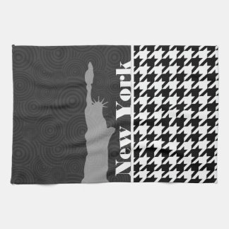New York, Statue of Libety Houndstooth Hand Towels