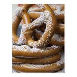New York street vendor's huge pretzels for sale Postcards
