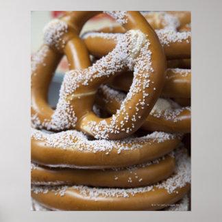 New York street vendor's huge pretzels for sale Poster