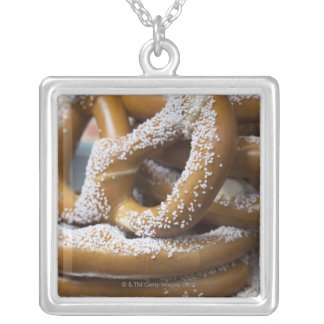 New York street vendor's huge pretzels for sale Silver Plated Necklace