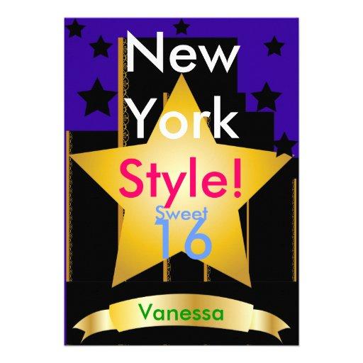 New York Style Sweet Sixteen Invitation-Customize