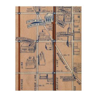 NEW YORK SUBWAY MAP, 1940 2 WOOD WALL ART