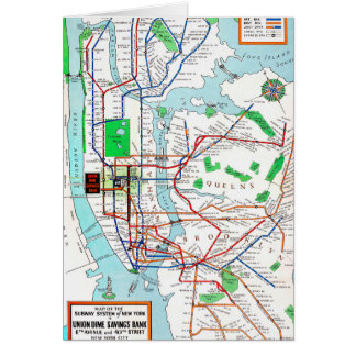 New York: Subway Map, 1940 Card