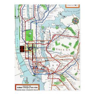 New York: Subway Map, 1940 Postcard