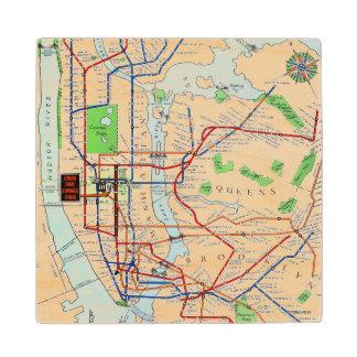 New York: Subway Map, 1940 Wood Coaster
