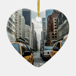 New York Taxi Cabs in the City Ceramic Heart Decoration