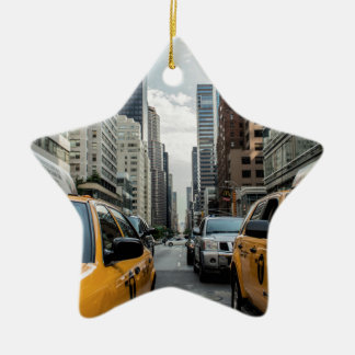 New York Taxi Cabs in the City Ceramic Star Decoration