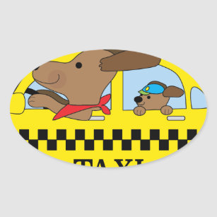 New York Taxi Dog Oval Sticker