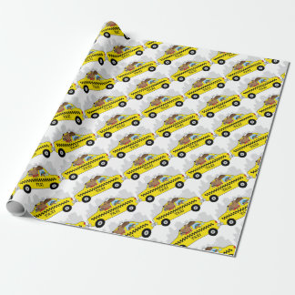 New York Taxi Dog Wrapping Paper