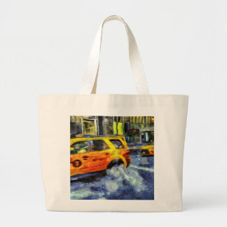 New York Taxis Art Large Tote Bag