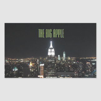 New York The Big Apple Manhattan at Night Gift Rectangular Sticker