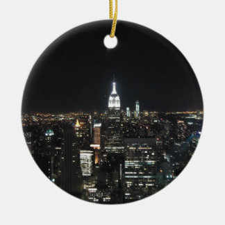 New York The Big Apple Manhattan at Night Gift Round Ceramic Decoration