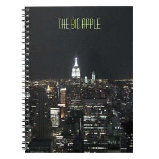 New York The Big Apple Manhattan at Night Note Pad Spiral Notebook