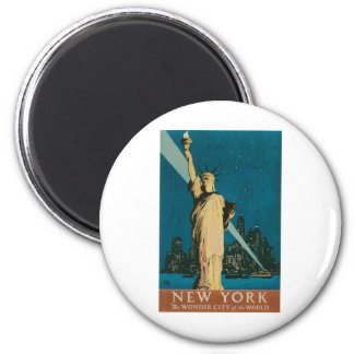 New York: The Wonder City of the World Poster 6 Cm Round Magnet