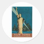 New York: The Wonder City of the World Poster Round Sticker