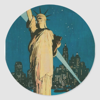 New York: The Wonder City of the World Poster Round Sticker