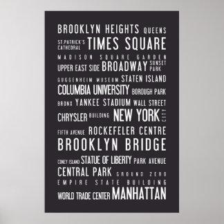 New York typographic poster dark grey