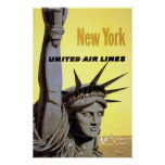 New York United Air Lines Statue Of Liberty Poster
