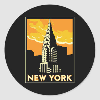 new york united states usa vintage retro travel classic round sticker