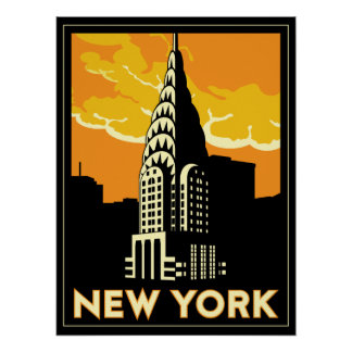 new york united states usa vintage retro travel poster