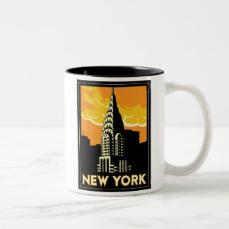 new york united states usa vintage retro travel Two-Tone coffee mug