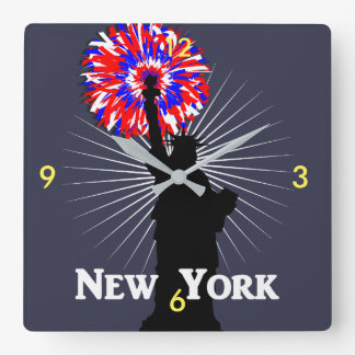 New York USA American Patriotic Statue Of Liberty Square Wall Clock