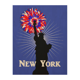 New York USA American Patriotic Statue Of Liberty Wood Wall Art