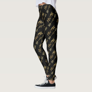 New York USA Black and Gold Look Typography Leggings