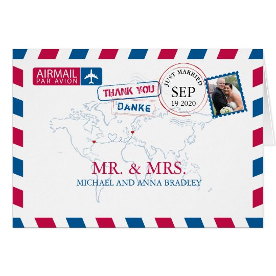 NEW YORK USA & GERMANY Airmail Wedding Thank