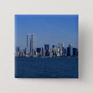 New York, USA. Skyline of downtown Manhattan 15 Cm Square Badge