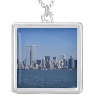 New York, USA. Skyline of downtown Manhattan Silver Plated Necklace