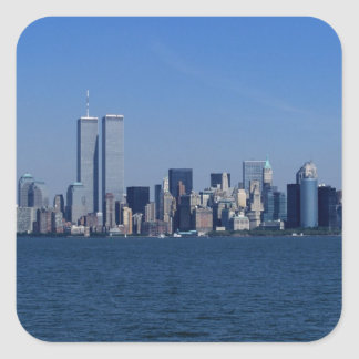 New York, USA. Skyline of downtown Manhattan Square Sticker