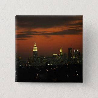 New York, USA. Skyline of uptown Manhattan 2 15 Cm Square Badge
