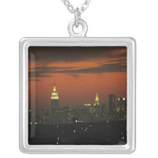 New York, USA. Skyline of uptown Manhattan 2 Silver Plated Necklace
