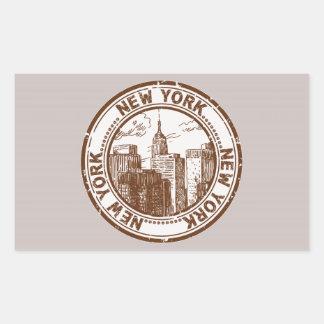 New York, USA Travel Stamp Rectangular Sticker