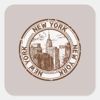 New York, USA Travel Stamp Square Sticker