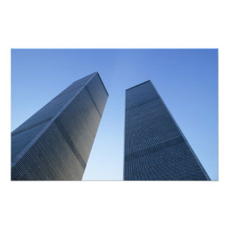 New York, USA. View up at twin towers of the Photographic Print