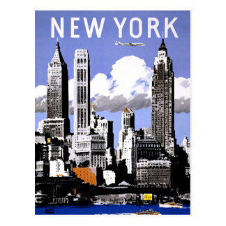 New York Vintage Travel Poster Restored Postcard