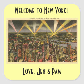 New York welcome bag sticker