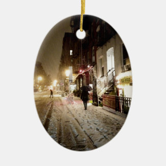 New York Winter - Snow on the Lower East Side Ceramic Oval Decoration