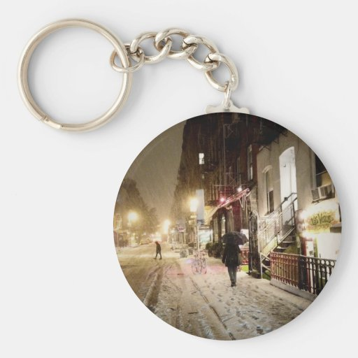 New York Winter - Snow on the Lower East Side Keychains