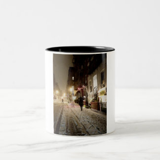 New York Winter - Snow on the Lower East Side Two-Tone Mug