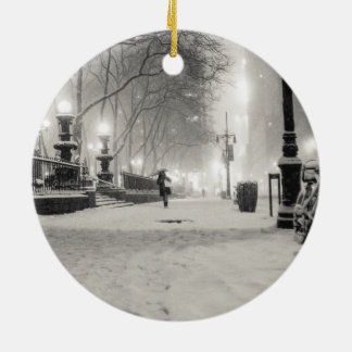 New York Winter - Snowy Night - Bryant Park Christmas Ornament